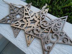 Set of Three Star Ornaments Laser Cut. Christmas by FiNeGRaiNeD