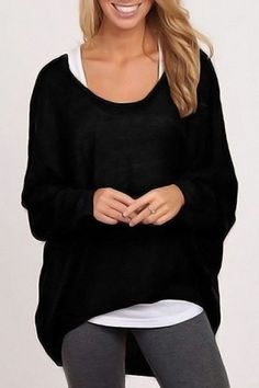 Stylish Scoop Neck Long Sleeve Pure Color Women's SweaterSweaters & Cardigans