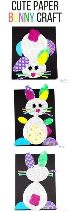 Arty Crafty Kids | Art Ideas for Kids | Paper Bunny Craft for Kids - using the template providing, kids can create a cute bunny using recycled paper. A great craft idea for Spring and Easter #eastercraftforkids #springcraftsforkids #kidscrafts #craftsforkids #eastercrafts #recyclingforkids