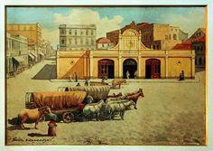 Quadro do antigo Mercado Municipal.. Arquivo - Remanescentes do antigo Mercado ficarão à mostra no Paço - Álbum - Prefeitura de Curitiba