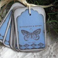 Blue butterfly tags