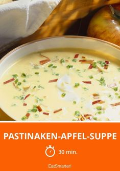 Pastinaken-Apfel-Suppe Parsnip and apple soup - smarter - time: 30 min. Easy Soup Recipes, Apple Recipes, Snack Recipes, Healthy Soup, Healthy Snacks, Parsnip And Apple Soup, Parsnip Soup, A Food, Food And Drink