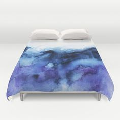 watercolor, painting, indigo, blue, storm, ocean, abstract, mountains, purple duvet cover