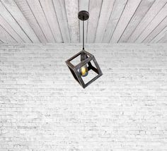 Iron Cube Pendant Light Fixture Hanging cube by Dreamlightforyou