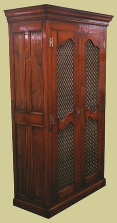 Cherry Wardrobe with Mesh Doors Handmade Bedroom Furniture, Oak Bedroom Furniture, Home Accents, Wardrobes, French Antiques, Cupboard, Armoire, Cherry, Mesh