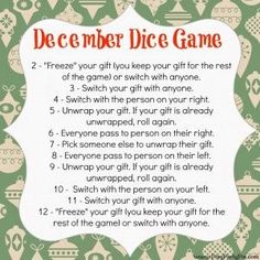 Do you do a small gift exchange at your Christmas party? If so, check out this simple dice game!