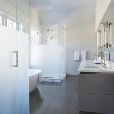 Master Bathroom with Frosted Glass His and Hers Shower Doors - Transitional - Bathroom Frosted Shower Doors, Bathroom Shower Doors, Glass Shower Doors, Glass Bathroom, Bathroom Renos, Bathroom Interior, Glass Doors, Glass Showers, Mirror Glass
