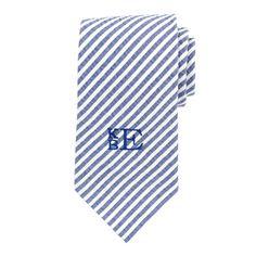 Navy Seersucker Neck Tie Custom Personalized by CommonThreadsShop