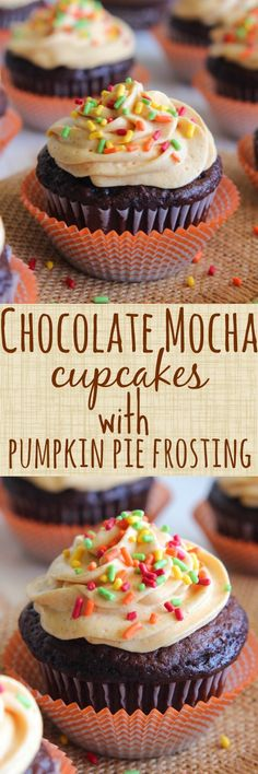 Chocolate Mocha Cupcakes with Pumpkin Pie Frosting and a Giveaway from @greekgodsyogurt #ad