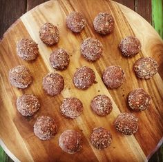 Best Chocolate bliss balls - chia seeds, dates, Rice Bubbles, oats, coconut oil, maple syrup.