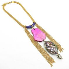 Funky stone bib statement necklace with neon pink howlite and abalone shell with a chain fringe.    Incredibly eye catching, this neon statement