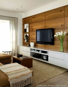 How to use modern TV wall units in living room wall decor Living Room Tv, Home And Living, Home Interior, Interior Design, Interior Ideas, Modern Tv Wall Units, House Design, House Styles, Home Decor