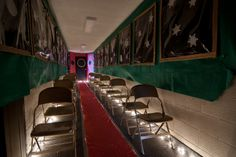 Polar Express Themed Party | One of the hallways was transformed to be the inside of a train.