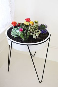 In lieu of buying my Mama cut flowers this year, I am thinking it would be fun to make her a sweet plant arrangement. Below are 10 potted garden ideas using succulents and cacti, which I especially like because not only are they pretty, they are also low maintenance.