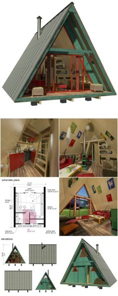 25 Plans to Build Your Own Fully Customized Tiny House on a Budget – Tiny Houses – Haus Dekoration Diy Tiny Cabins, Tiny House Cabin, Tiny House Living, Tiny House Plans, Tiny House Design, A Frame Cabin, A Frame House, Casas Containers, Beach House Decor