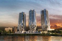 The Grace on Coronation, 4 kilometres west of Brisbane's Central Business District, by Zaha Hadid, provides 486 apartments in three residential towers, eight villas and 7,300sqm of landscaped riverfront public parklands. Images © Zaha Hadid Grace on Coronation by