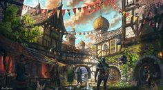 Festival Preparations Fantasy town Medieval fantasy Fantasy city