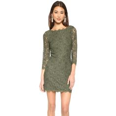 Diane Von Furstenberg Diane Von Furstenberg Zarita Lace Dress - Olive... (22,760 INR) ❤ liked on Polyvore featuring dresses, olive green lace dress, see-through dresses, scalloped dress, sheer lace dress and diane von furstenberg dress