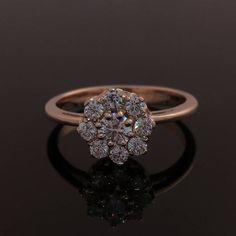 Engagement ring, Rose gold engagement ring, Diamond engagement ring, Vintage style engagement ring, Classic engagement ring, Cluster ring #clusterring #rosegoldring #engagementring #diamondring