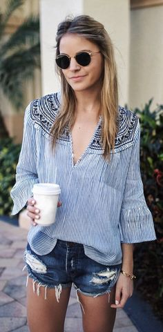 #spring #fashion  Striped Blouse & Ripped Denim Short
