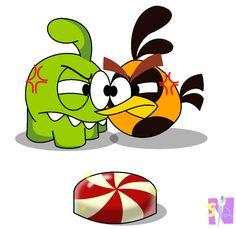Om Nom VS. Orange Bird! Who will get the candy?