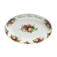 """Royal Albert Old Country Roses """"Bless This Home"""" Platter 