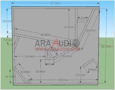 Ukuran Box Real Cla 15 inch   ARA AUDIO 15 Inch Subwoofer Box, Speaker Box Design, Speaker Plans, Planer, How To Plan, Audio Equipment, F1, City, Wood