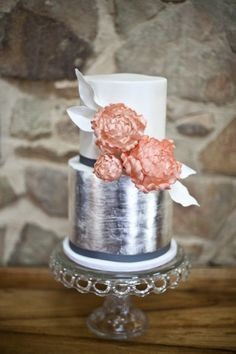 Silver and blush wedding cake