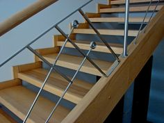 When planning the house that consists of two or more floors, you should calculate and design the location of the staircase in advance. This structure. Metal Steps, Wooden Steps, Wooden Staircases, Steel Rod, Wooden Bar, Staircase Design, Interior Design Studio, Wood And Metal, Modern Decor