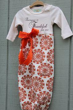 Newborn Layette Gown  Thanksgiving / Fall by PumpkinPieClothing, $28.00