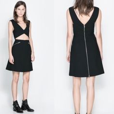 Zara Cut Out Dress Classic little black dress with cute cut outs and zippers. Super cute and comfortable. 63% Polyester, 27% Viscose, and 7% Cotton exterior. Never worn and with tags. I'm open to offers! Zara Dresses Mini