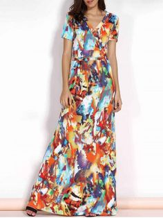 Elegant V-Neck Short Sleeve Multicolored Print Plus Size Maxi Dress For Women