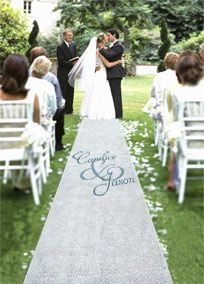 Proudly display your names to the world with this beautiful personalized fabric aisle runner.