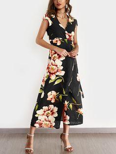 d6614b9760 Red Random Floral Print Self-tie Waist V-neck High Slit Maxi Dress ...