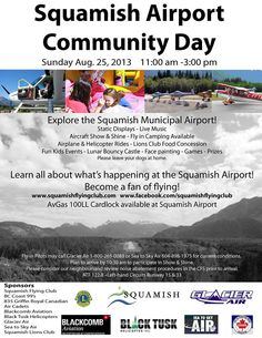 Please join us for the annual Squamish Airport Community Day - August Fun flying family fun for everyone! Face Painting Games, Capital Of Canada, Game Prizes, Bouncy Castle, Outdoor Recreation, Kids Events, Live Music, Cool Kids, Things To Do