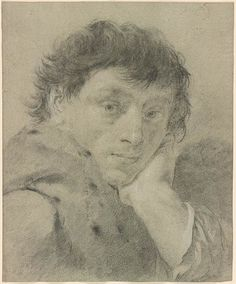 Giovanni Battista Piazzetta,  1682-1754.  Portrait of a Man with His Head on His Hand.  Black chalk, heightened with white chalk, on blue laid paper. 13 x 10 3/4 inches (330 x 273 mm)   Drawings Online   The Morgan Library & Museum