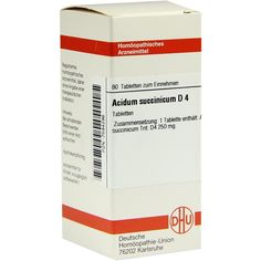 ACIDUM SUCCINICUM D 4 Tabletten:   Packungsinhalt: 80 St Tabletten PZN: 07594296 Hersteller: DHU-Arzneimittel GmbH & Co. KG Preis: 5,95…
