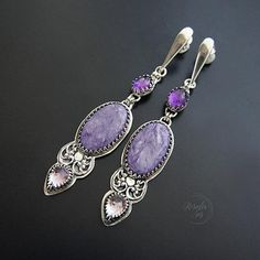 Silver Charoite and Amethyst Long Earrings