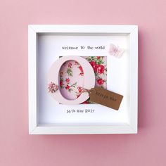 ae7484c08fff Welcome To The World New Baby Girl Frame- Personalised Pink Floral Frame-  Glittery Butterfly- Christening Gift- Baby Shower Gift- Newborn