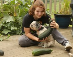 """Bigger Is Better, Just Ask Bob! Congratulations To Our 10th Weekly Winner Bob M., Wysox, PA!  """"This is my grandson with Critter, and more importantly, 2 of the Zucchini squash we grew this summer in the GrowBox behind where the kids are sitting. It's a bit difficult to see the GrowBox because the leaves are so BIG on the plants. The GrowBox to the left is cucumbers. We love our GrowBoxes!"""" Bob M., Wysox, PA  Send photos to photos@agardenpatch.com"""