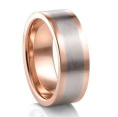 Mens wedding ring. Rose Gold and Titanium. Love it.