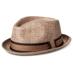 Men's Textured Porkpie Fedora Brown - L/XL