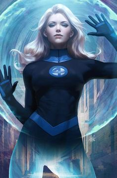 Fantastic Four Invisible Woman Artgerm Variant by Stanley Lau Marvel Heroines, Marvel Characters, Marvel Girls, Comics Girls, Storm Marvel, Storm Comic, Fantastic Four Comics, Spiderman, Invisible Woman