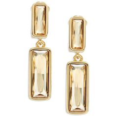 Oscar De La Renta Faceted Citrine Clip-On Earrings ($290) ❤ liked on Polyvore featuring jewelry, earrings, gold, oscar de la renta, clip back earrings, citrine jewelry, golden jewelry and gold tone earrings