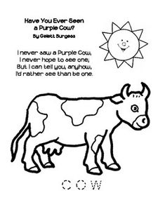 Coloring Page With The Have You Ever Seen A Purple Cow Poem By Gelett Burgess