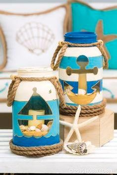 1) Draw a template of desired shape onto paper and attach to the mason jar with double-sided tape.   2) Apply paint to exposed areas. Allow to dry.   3) Once the first coat of paint has dried, carefully remove tape and apply next color of paint. Repeat until all colors are applied.  4) Once the jar has dried, use sandpaper to lightly distress. Use a gold-leafing marker to outline shapes and stripes.  5) Wrap the bottom of the jars with large jute and hot glue on the back.