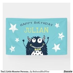 Teal | Little Monster Personalized Birthday Party Banner Little Monster Birthday, Monster Birthday Parties, My Little Monster, Monster Party, Little Monsters, Birthday Party Invitations, Birthday Party Themes, Boy Birthday, Birthday Banners