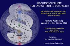Aufgrund der großen Verunsicherung vieler Energetiker zum Thema rechtssicheres Auftreten, veranstalten wir am Mo 29. + Di 30. Jänner 2018, jeweils von 18:00 – 21:00 Uhr in Wien: Neubaugasse 3/ 1.Stock, 1070 Wien, ein Rechskunde-Seminar.