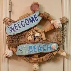 Welcome To The Beach Wreath, ONE OF A KIND by SouthTXCreations on Etsy