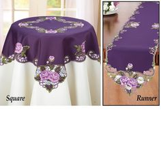 Elegant Embroidered Rose Table Linens, Purple, Runner